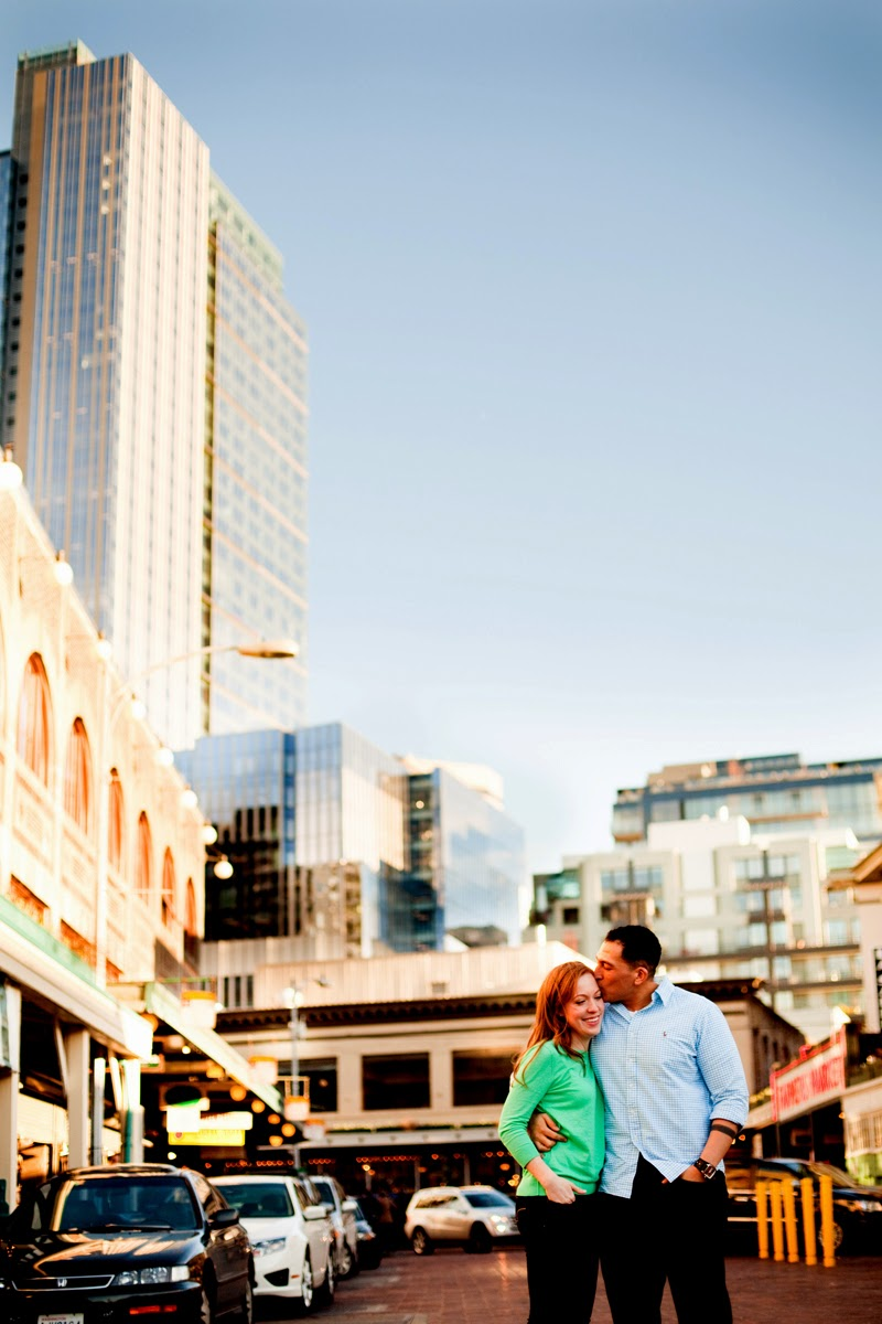 Johnny and Christina's engagement photo at Pike Place Market - Patricia Stimac, Seattle Wedding Officiant