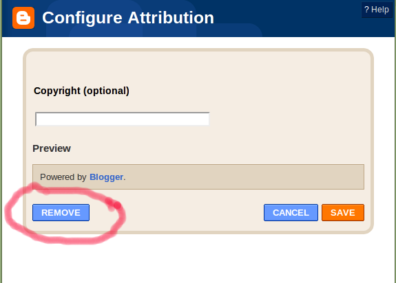 remove attribution powered by blogger