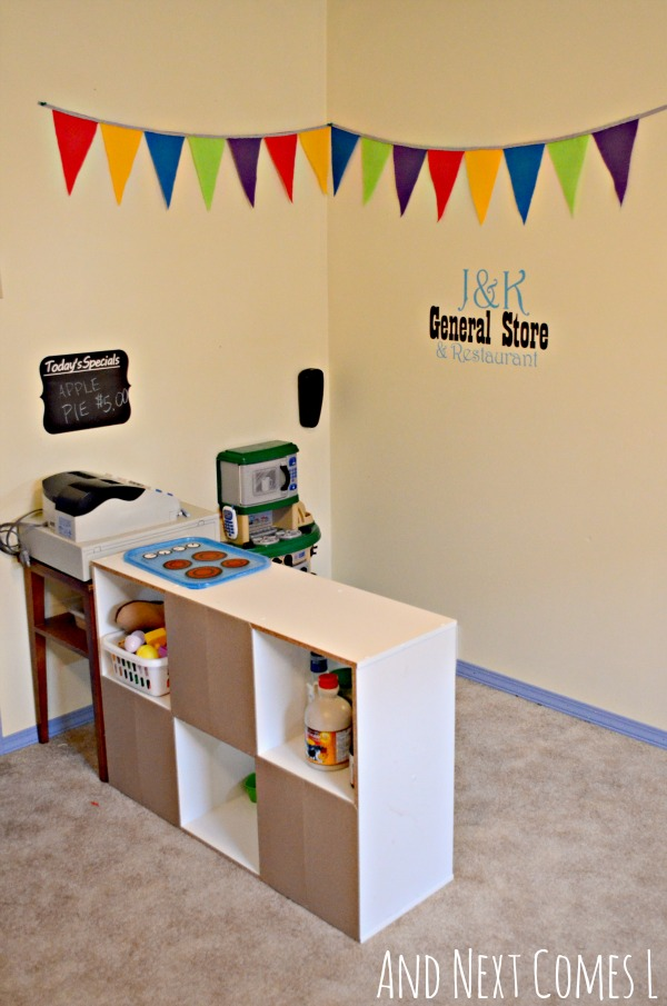 Our playroom imaginary play area and next comes l for Kitchen set for 9 year old