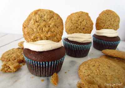 Chocolate Oatmeal Cookie Dough Cupcakes