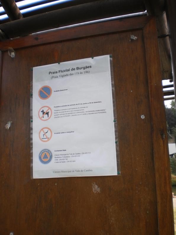 Informações para os utilizadores da Praia Fluvial de Burgães