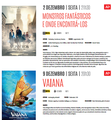 Cartaz Cinema Dezembro 2016