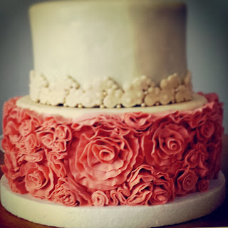 ruffled wedding cake in old rose