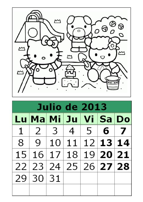 Calendario de Hello Kitty para colorear de 2013 (3ª parte)