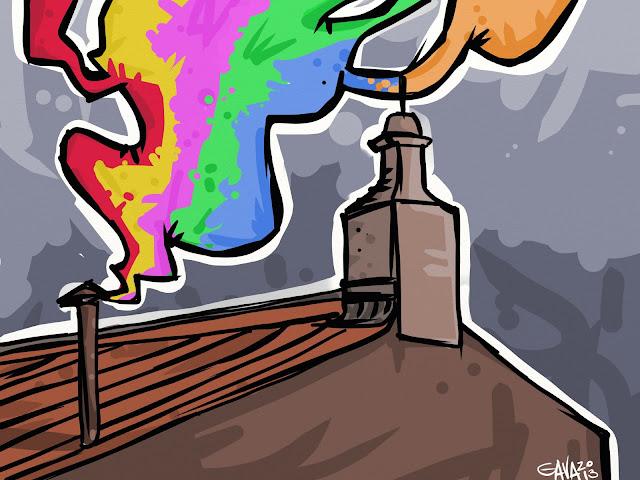 gava gavavenezia satira vignette caricatura arcobaleno gay tolleranza fumata bianca roma