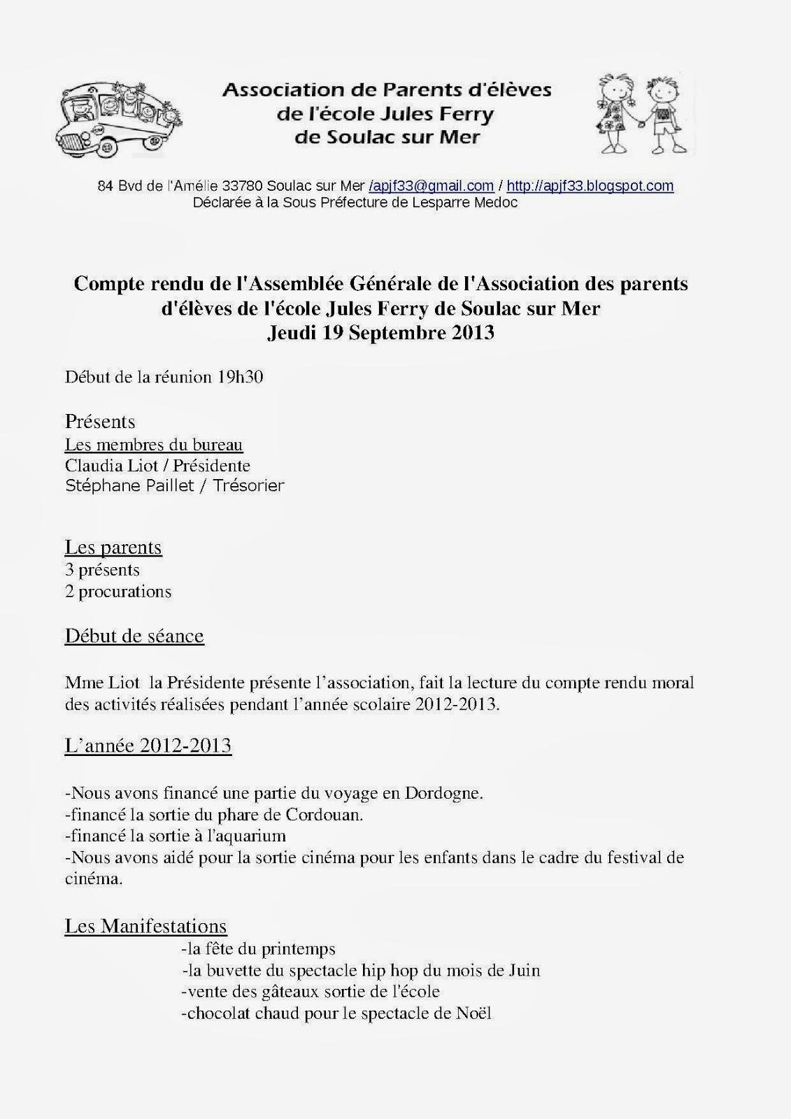 Ass parents d 39 l ves jules ferry soulac sur mer - Assemblee generale association renouvellement bureau ...