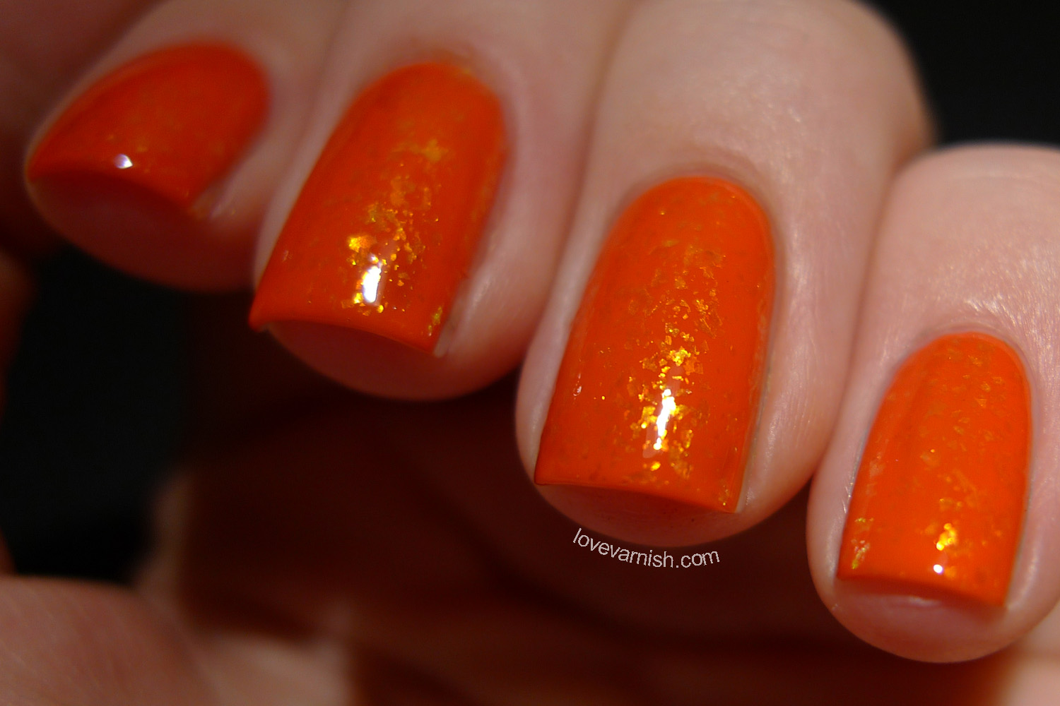 Dance Legend Candy Flakes Sweetest Thing orange golden flakie polish