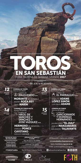 SAN SEBASTIAN (ESPAÑA) FERIA TAURINA DE SEMANA GRANDE 2017.