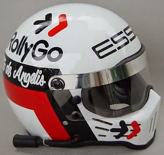 L'iconico casco Simpson di Elio de Angelis. Lo stesso disegno fu poi usato da Jean Alesi