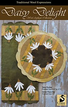 "Daisy Delight Wool Applique Runner (13 1/2 x27.5"") and Centerpiece Mat 15"""