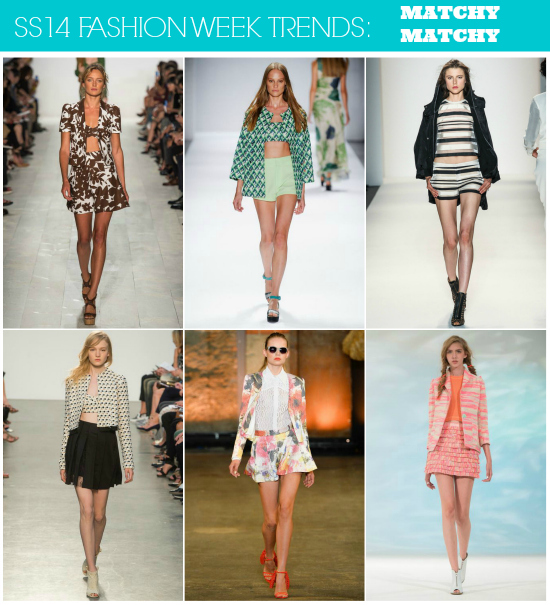 SS14 Runway Trends: Matchy Matchy // Click here for more fashion week #trend coverage! http://lapetitefashionista.blogspot.com/2013/09/ss14-runway-trends-recap.html