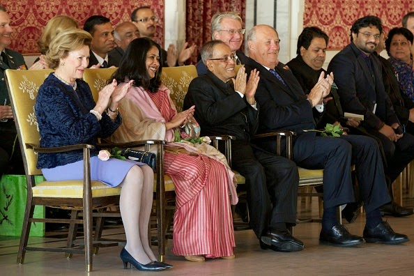 Queen Sonja of Norway, daughter of the President of India Sharmistha Mukherjee, the President of India Pranab Mukherjee and King Harald V of Norway attend a guided tour at the Oslo City Hall during Day-1 of the state visit from India
