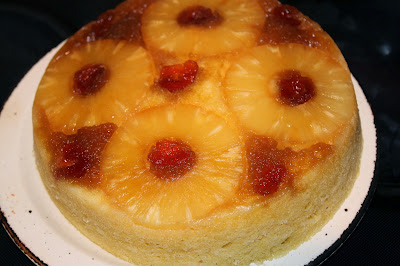 Microwave upside pineapple cake