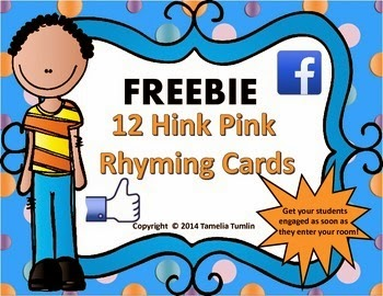 http://www.teacherspayteachers.com/Product/FREEBIE-Hink-Pink-Challenge-Task-Cards-Grades-3-5-Facebook-Theme-1333009