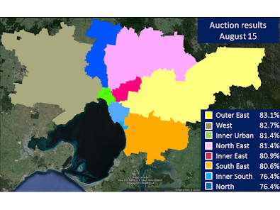 Melbourne regions auction clearance rates August 15