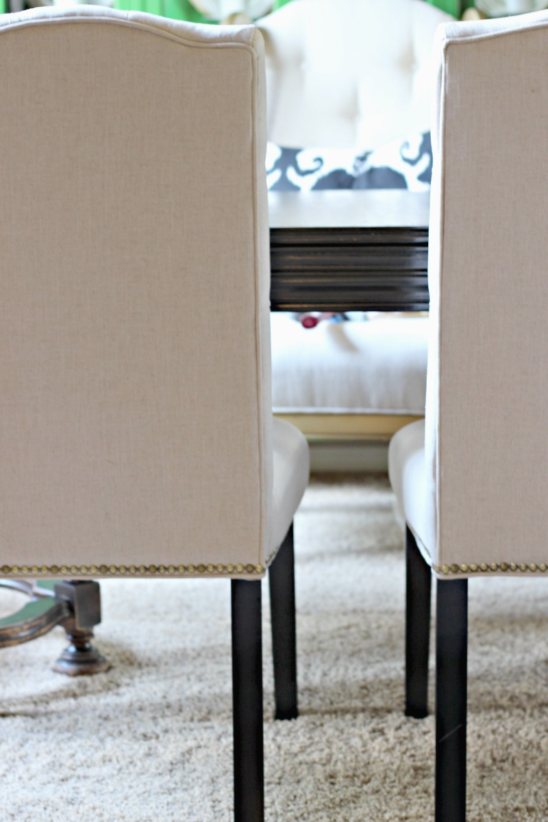NAIL HEAD TRIMMED DINING CHAIRS - Dimples and Tangles