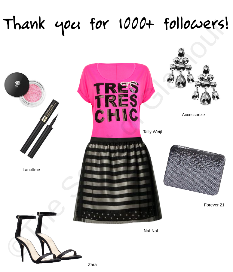 tally weijl top, naf naf skirt, lancome mascara, lancome eyeshadow, accessorize earrings, forever 21 clutch, zara black heels