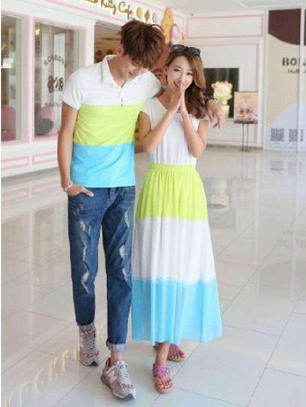Jual Online Couple Dress Melody Murah di Jakarta Bahan Spandex Kombinasi Keren