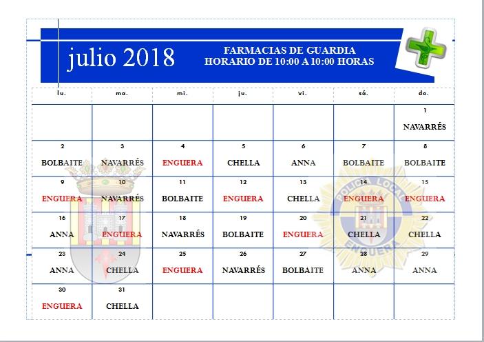 FARMACIAS JULIO 2018