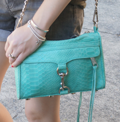 ebecca Minkoff mini MAC with python embossed leather in aquamarine