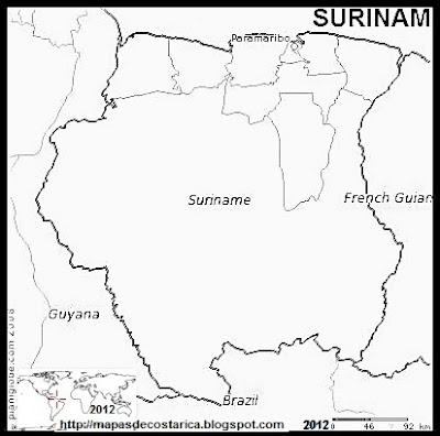 Mapa de SURINAM, (PLANIGLOBE) blanco y negro