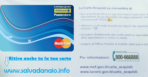 Carta acquisti disoccupati 2016 Inps