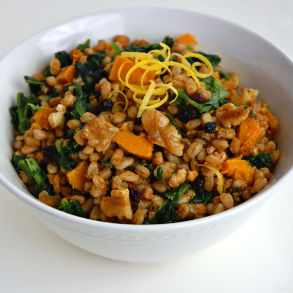 butternut squash salad with farro and pepitas www butternut squash and ...