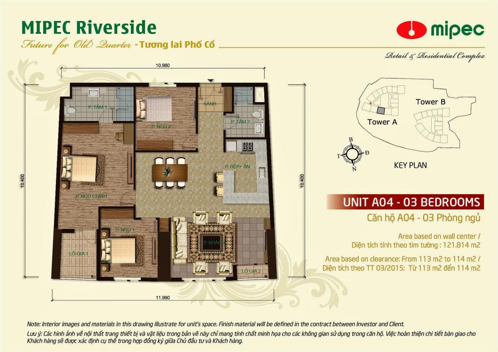 Căn A04 - 121m Mipec Riverside