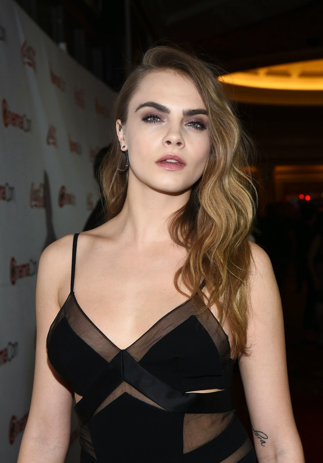 Cara Delevingne In A Sheer Chemise At The Cinemacon Big