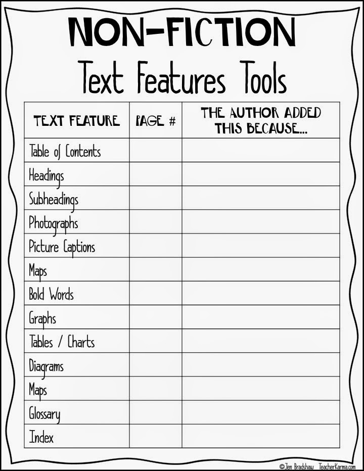 17 Best ideas about Text Features Worksheet on Pinterest | Non ...