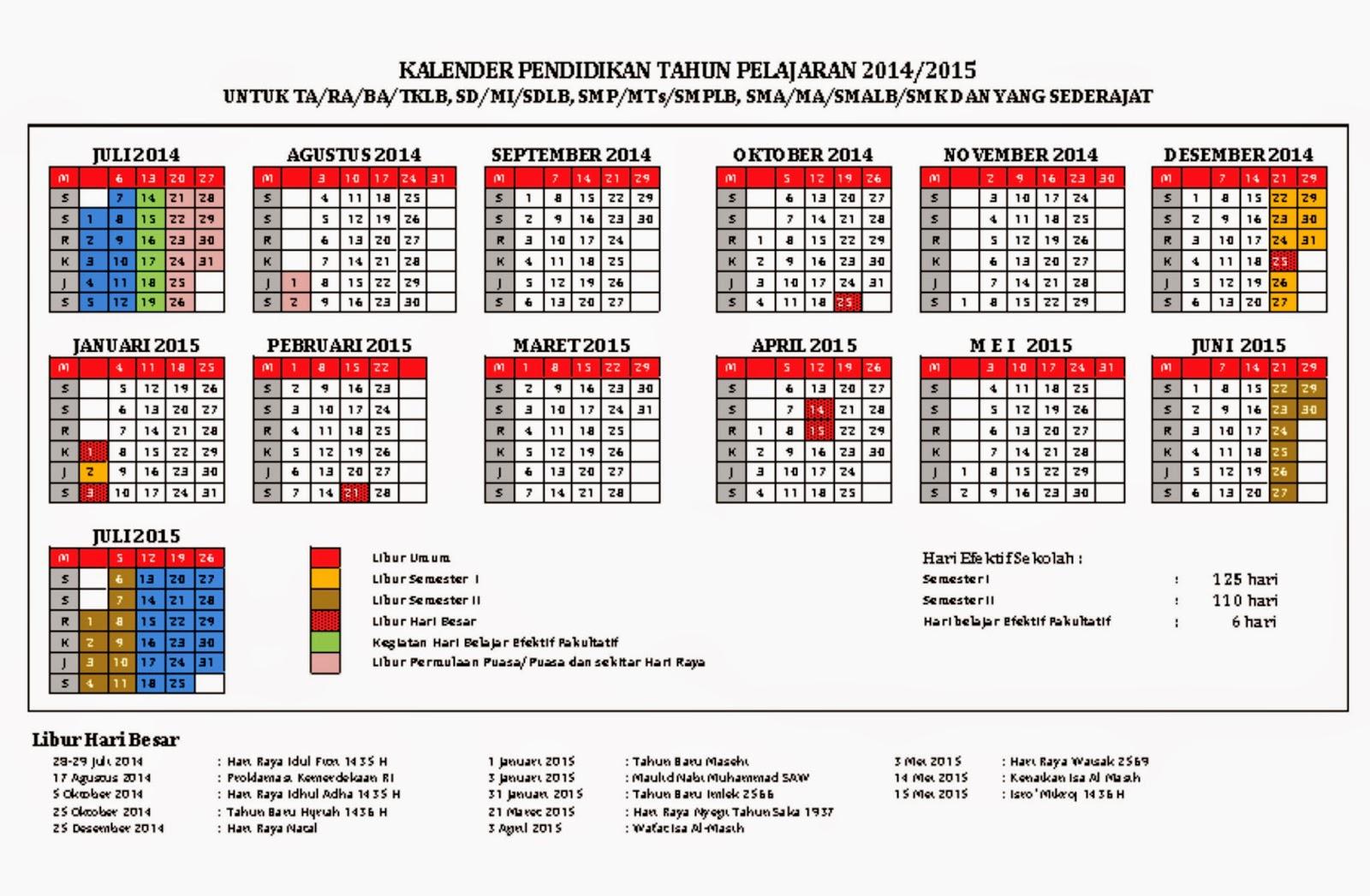 Kalender pendidikan tahun pelajaran 2014 2015