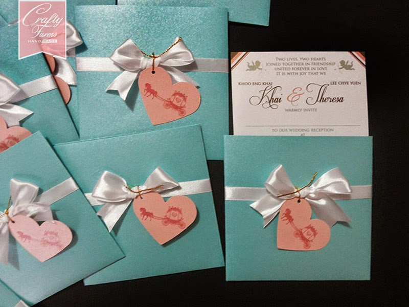 Turquoise and Pink Western Themed Wedding Card with Chinese and English wordings printing