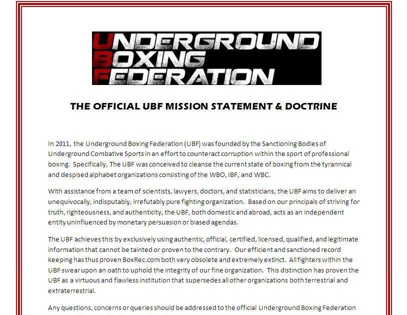 underground boxing federation about ubf