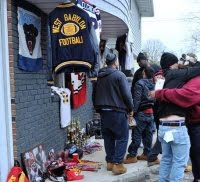 memorial for NFL star Jovan Belcher in West Babylon, NY