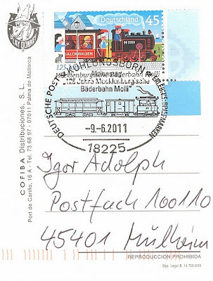 Briefmarke 125 Jahre Bderkleinbahn Molli