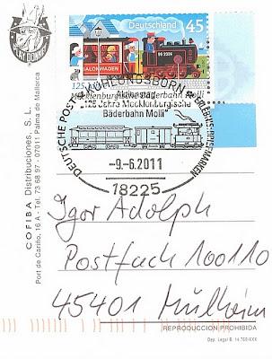 Briefmarke 125 Jahre Bäderkleinbahn Molli