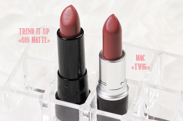 MAC Lipstick Dupe: MAC «Twig» vs. trend it up «010 Matte»