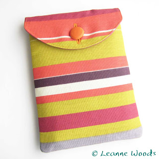 Handmade Designer Unisex Case for Kindle, Kobo, Nook, Nexus in bright deckchair stripe available from Leanne Woods Designs on Etsy