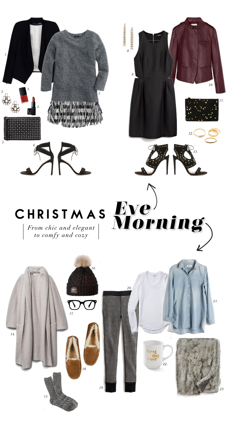 christmas eve is just around the corner and here are some looks to inspire your outfits for a night of celebration and a day of relaxation