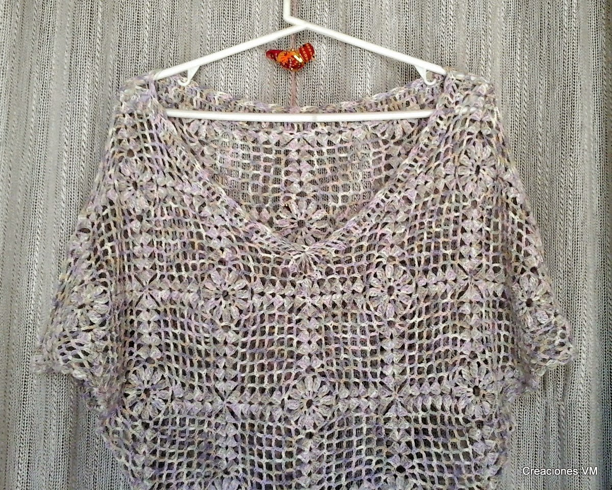 Blusa calada tejida a crochet. Tejido marplatense