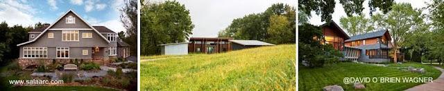 Tres imágenes de casas rurales norteamericanas