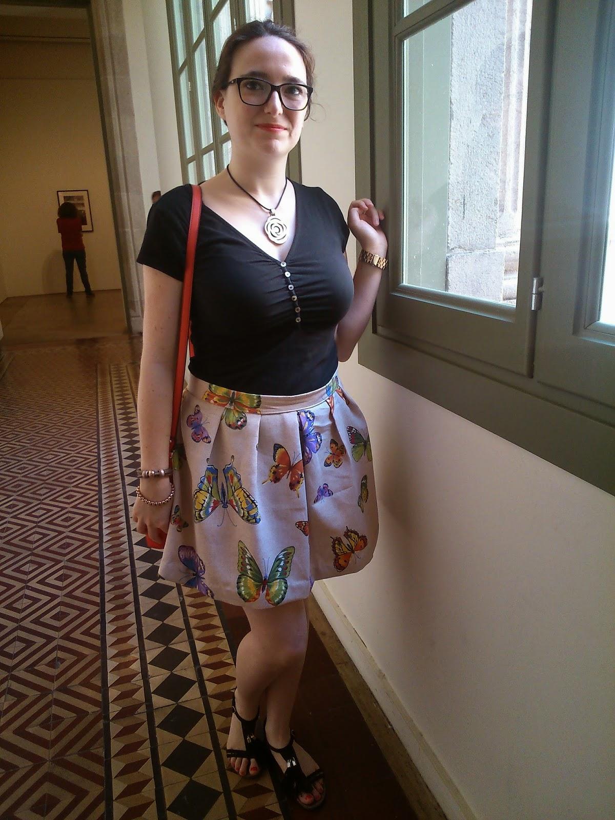 modistilla de pacotilla falda pliegues loneta mariposas falda fácil