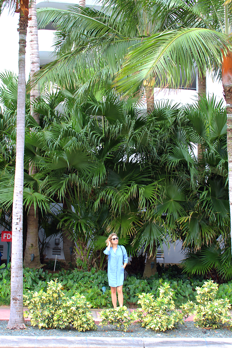 Fashion Over Reason at Art Basel Miami 2014, COS chambray shirtdress, South Beach, palm trees, candid