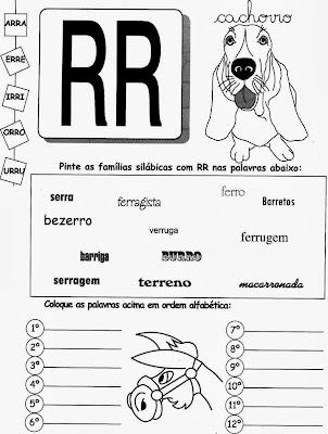 Atividades com RR, ortografia,alfabetização, anos iniciais,atividades com RR para imprimir