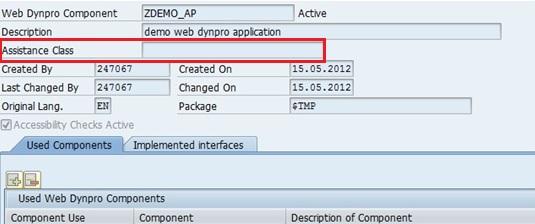 Assistance class in web dynpro ABAP