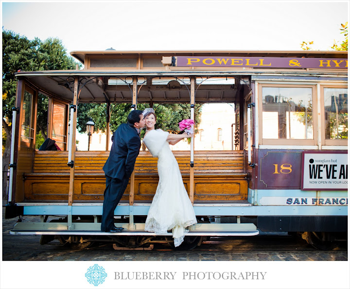 San Francisco City Hall Rotunda Wedding Photographs cable car