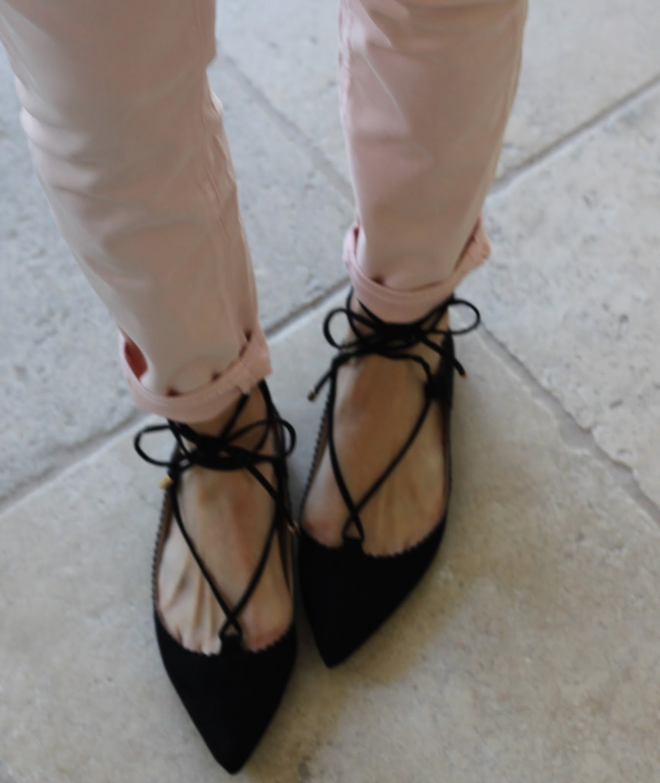 black laced ballerina flats