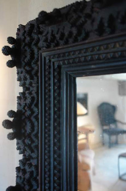 Black Forest mirror, ca 1830, perfect condition (ref # 8765) 63 cm x 52 cm,  L's pick available at Garnier (be) as seen on linenandlavender.net