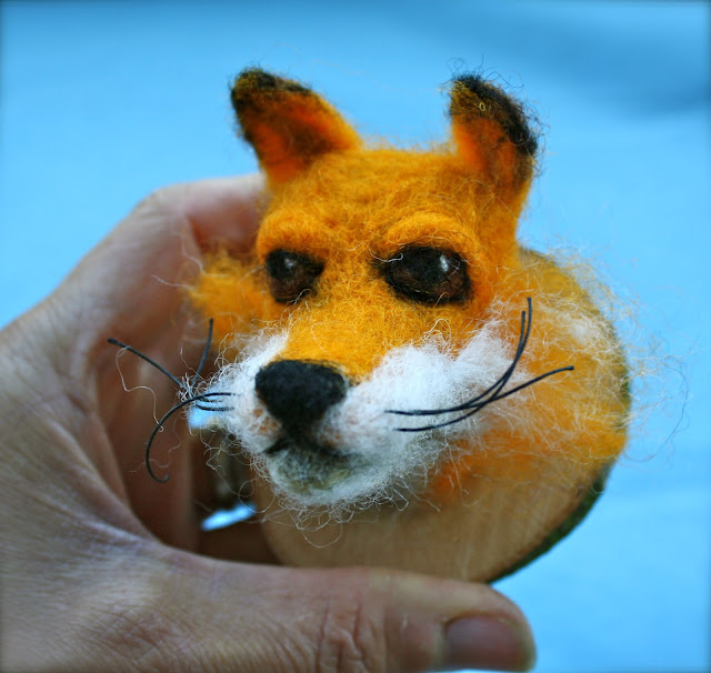 felted fox head textildermy faux_taxidermy
