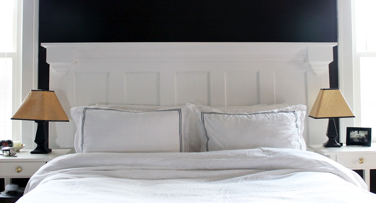 & Hammers and High Heels: Our Completed Door Turned Headboard!